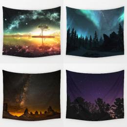 Comwarm Niesamowite Wdzięku Night Starry Sky Piękne Sight Drukowane Ściany Wiszące Drzewo Naturalnej Scenerii Gobelin Salon Deco