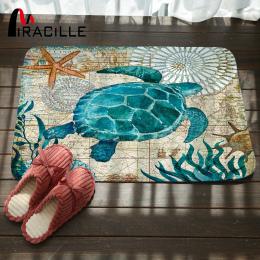 Marine Miracille Styl Drzwi Maty Podłogowe Dywan dla Pokoju Gościnnego Żółw Morski Wzór Koral Polar Dywan Antypoślizgowe Wyciera
