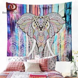 BeddingOutlet Słoń Gobelin Kolorowe Drukowane Dekoracyjne Mandala Tapestry Indian 130 cm x 150 cm 153 cm x 203 cm Boho ściany Dy