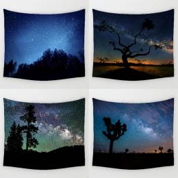 Comwarm Błyszczące Noc Trwałe Ściany Wiszące Piękne Las Starry Sky Naturalnej Scenerii Wzór Gobelin Sypialnia Home Decor Art