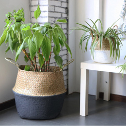 Handmade Bambusa Kosze Do Przechowywania Składany Pralni Słomy Patchwork Wiklina Rattan Trawa Morska Brzuch Ogród Doniczka Sadza