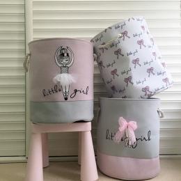 Składany Pralni Kosz na Brudne Ubrania Różowy Balet Dziewczyna Zabawki kosze torba Organizator dzieci Przechowywania W Domu myci