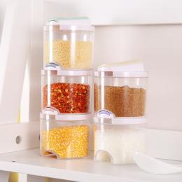 MOM'S RĘCZNIE 5 sztuk/zestaw Kithcne Kreatywny Przejrzyste Puszki Przyprawy Kuchenne Cylindra Butelki Przyprawa Pieprz Spice Rac