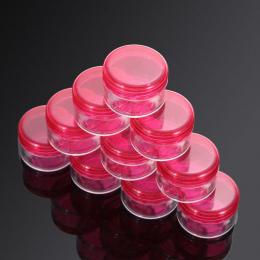 10 sztuk Przenośne Kosmetyczne Pusty Słoik Pot Eyeshadow Makijaż Krem Do Twarzy Pojemnik Rose Red Dia 3 cm