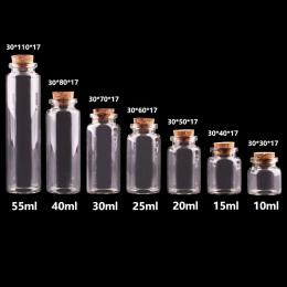 24 sztuk 10 ml 15 ml 20 ml 25 ml 30 ml Śliczne Wyczyść Pusty Szklane Butelki z Korkiem przyprawy Butelki Słoiki DIY Rzemiosło Fi