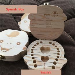 Angielski/Hiszpański Drewniane Pudełko Zębów Box Organizator Zapisz Zęby Mleczne Box Przechowywania Zęby Prezent Pępowina Lanugo