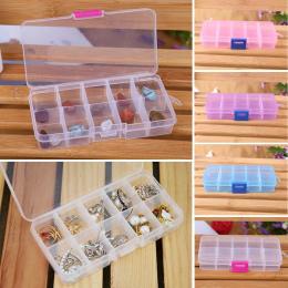 10 Siatki Plastikowe Pudełko Regulowane Pole Biżuteria Koraliki Nail Art Schowek Pigułki Organizator dla urzędu organizacji sprz