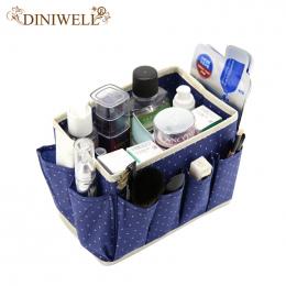 DINIWELL Dot Wzór Włókniny Składany Kosmetyczne Schowek Domu Z 8 Kieszeniami Gospodarstw Domowych Skrzynek Makijaż Organizator R