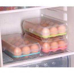 Jajko Schowek 15 kraty jaja Przypadku antykolizyjnej schowek Lodówka jajko schowek Przenośny tacy jaj Kuchenne organizować