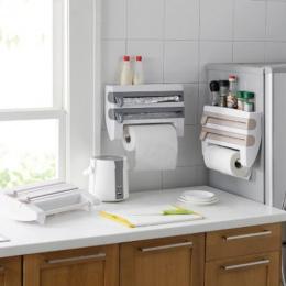 Kuchnia Organizator Folią Sos Butelka Stojak Przechowywania Cyny Papier Folia Uchwyt Na Ręczniki Kuchenne Półki Plastikowe Wrap