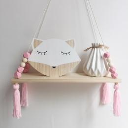 Hot sprzedaż sypialnia Półka ścienna DIY Oryginalne Koraliki Drewniane Przechowywania Półki Organizacji huśtawka półka Home deco