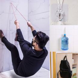 6 sztuk Przejrzyste Silne Drzwi Samoprzylepne Wieszaki Ścienne Ręcznik Mop Torebka Uchwyt Haki Do Wieszania Kuchnia Łazienka Akc