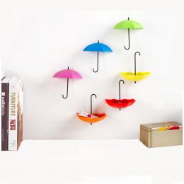 6 Sztuk/zestaw Kolorowe Kształt Parasola Parasol Kształt Dekoracje Ścienne Stojaki Haki Ścienne Ścienne Organizator Pojemników n