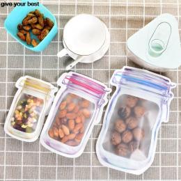 10 sztuk Mason Jar Wzór Torby Do Przechowywania Żywności Wygaszacz Zestaw kuchnia organizator przekąski Przekąski świeże torby d