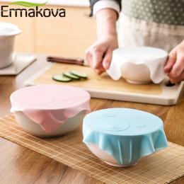 ERMAKOVA Silikonowe Wielokrotnego Użytku Okład Odcinek Pokrywką Grip Świeże Jedzenie Utrzymanie Folia Uszczelniaczem Pokrywa Mik