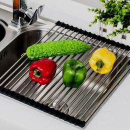 Popularny Wielofunkcyjny Przechowywania Uchwyt Owoce Warzywa Suszenia Naczyń Ociekacz Umywalka Colanders Izolacji Składany Do Pr