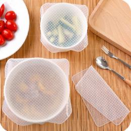 4 SZTUK Silikonowe Wielokrotnego Użytku Wielokrotnego Użytku Veggie Bowl Pokrowce Pokrowce Do Przechowywania Żywności Wygaszacz