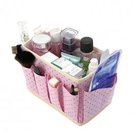 Śliczne Dots Pulpit Organizator Kosmetyczne Makijaż Pudełka Do Przechowywania Kosze włókniny Mycia Akcesoria Pudełka