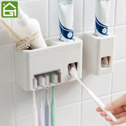 Rękę Wolną Dozownik Pasty Do Zębów Automatyczne Naklejki Na Ścianie 4 Szczoteczki Do Zębów Squeezer Łazienka Organizator Półki