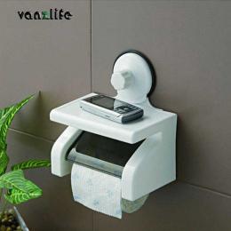 Vanzlife wodoodporny papier toaletowy uchwyt na papier potężny ssania ściany z tacy nie bolą papieru toaletowego stojak