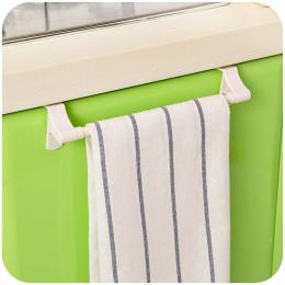 Wieszak na Ręczniki Kwadratowy Uchwyt Organizator Rack Przechowywania Drzwi Kuchenne Wiszące Kolejowego Biały