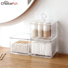 CHOICEFUN Cube Domu Mały Przezroczysty Wyświetlacz Zorganizować Kosmetyczne Makijaż Make Up Bawełna Wymaz Akrylowe Pudełko Do Pr