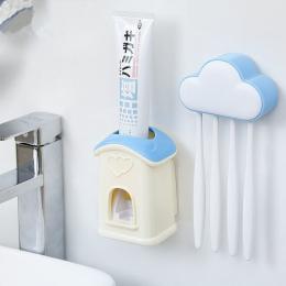 1 zestaw 4 Kolory Cartoon Chmury Automatyczny Dozownik Pasty Do Zębów Zestaw 4 Szczoteczka Do Zębów Uchwyt Do Montażu Na Ścianie