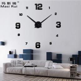 2017 new arrival 3d naprawdę duży zegar ścienny nowoczesny design rzucili zegary Kwarcowe mody zegarki lustro naklejki diy salon