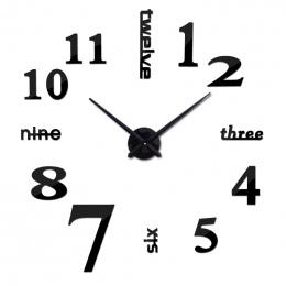 Nowe mody diy akrylowa lustro zegar ścienny europa 3d duży zegarek kwarcowy martwa natura zegary pokój dzienny naklejki dekoracj