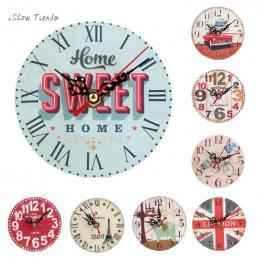 ISHOWTIENDA Nowy 1 pc 12 cm Styl Vintage Antyczny Zegar Ścienny Milczy Zasilany Baterią Reloj De Pared De Estilo Drewna Vintage