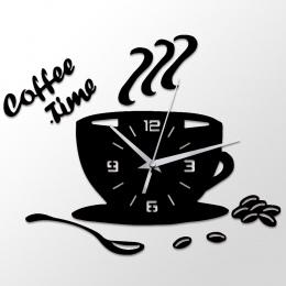 3D DIY Zegar Ścienny Akrylowe Nowoczesna Kuchnia Wystrój Domu Kawy Zegar Czasu Puchar Kształt Naklejki Ścienne Hollow Liczebnik