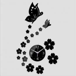 Darmowa Wysyłka 2017 3D Lustro Zegar Ścienny DIY Krystaliczny Zegarek Zegary Ścienne Home Decoration, Reloj De Pared 2 Motyl i 1