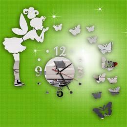 Nowoczesny Styl Butterfly Fairy DIY Zegar Ścienny Lustro Naklejka Home Decor relogio de parede najlepiej sprzedających 2018 prod