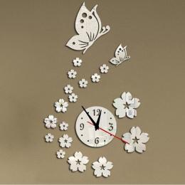 2015 new hot akrylowe zegary zegarek zegar ścienny nowoczesny design 3d lustro kryształowe zegarki dekoracji domu salon darmowa