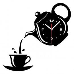 Czajniczek Zegarek Zegar Ścienny Lustro Filiżanka Kawy Ściany Zegarek Zegary Ścienne Dekoracyjne Kuchnia Zegary Jadalnia Home De