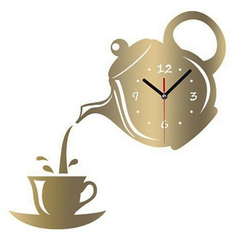 Czajniczek Zegarek Zegar ścienny Lustro Filiżanka Kawy