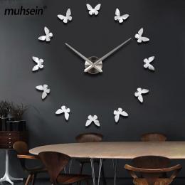 Muhsein nowe naklejki ścienne home decor plakat diy europa akrylowe duża 3d sticker martwa natura zegar ścienny konia butterfly
