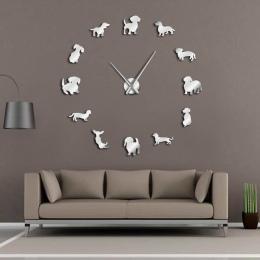 DIY Jamnik Wall Art Wiener-Dog Puppy Dog Pet Bezramowe Giant Zegar Ścienny Z Lustro Efekt Kiełbasa Pies Duży zegar Ścienny Zegar