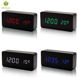 Mrosaa Drewniane LED Budziki Temperatury Elektroniczny Zegar Brzmi Sterowania Cyfrowy Wyświetlacz LED Pulpicie Kalendarz zegar S