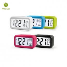 Mrosaa Duży LED Cyfrowy Budzik Podświetlenie Drzemki Wyciszenie Kalendarz Pulpit Elektroniczny Bcaklight Stół zegary zegar na Pu