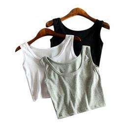 Mileegirl Lato Szczupła Render Krótki Top Kobiety Bez Rękawów U Croptops Tank Tops Solid Black/White Crop Topy Vest Rury top 7 K