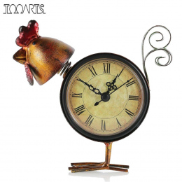 Tooarts Vintage Zegar Laska Handmade Wyciszenie Zegar Stołowy Praktyczne Żelaza Laska Figurka Antyczny Wystrój Domu Dekoracji Zw