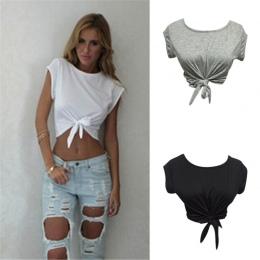 Kobiety Wiązane Tie Przednia Czołgi camis Crop Tops Przycięte T Koszula Casual Bluzka Biały Szary Kolor