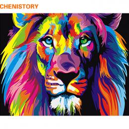 Bezramowe Kolorowe Lion Zwierząt Abstrakcyjne Malarstwo Diy Cyfrowy Obraz Numerami Nowoczesne Wall Art Obraz Na Ścianie Domu Gra