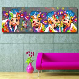 HDARTISAN Kolorowe Cztery Krów Graffiti Zwierząt Obraz Olejny Wydruki na płótnie Obraz Sztuki na Ścianie Sypialni salonu Wystrój