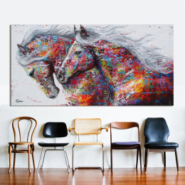 HDARTISAN Wall Art Obraz Na Płótnie Obraz Olejny Zwierząt Drukuj Do Salonu Wystrój Domu Dwa Prowadzenie Konia Bez Ramki
