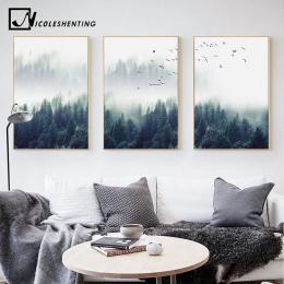 Nordic Dekoracji Las Pejzaż Wall Art Canvas Plakat i Druku Płótnie Malarstwo Dekoracyjne Obraz do Salonu Wystrój Domu