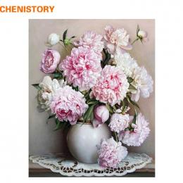 CHENISTORY Różowy Europa Kwiat DIY Malowanie Numerami Akryl Farby Przez Numery Ręcznie Malowane Obraz Olejny Na Płótnie Dla Wyst