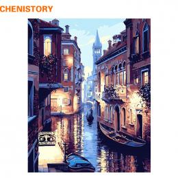 Bezramowe Wenecja Nocy Krajobraz DIY Cyfrowy Obraz Olejny Numery Europa Abstrakcyjne Płótno Malowanie Na Ścianie w Salonie Sztuk