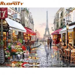 RUOPOTY Paris Street DIY Malowanie Numerami obraz Malowany Na Płótnie Malarstwo Domu Obraz Sztuki Na Ścianie Salonu Wyjątkowy Pr
